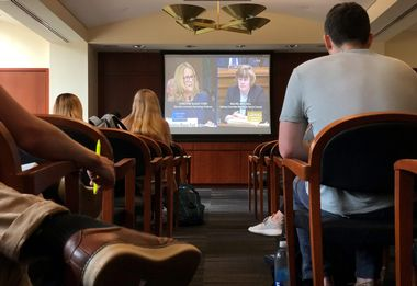 Students of the George Washington University Law School gather at Lisner Hall to watch the U.S. Senate Supreme Court confirmation hearing into sexual assault allegations from Christine Blasey Ford against Supreme Court nominee Judge Brett M. Kavanaugh in Washington, DC, U.S. September 27, 2018. REUTERS/Kevin Fogarty