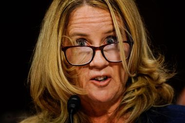 Christine Blasey Ford answers questions at a Senate Judiciary Committee hearing on Thursday, September 27, 2018 on Capitol Hill. Melina Mara/Pool via REUTERS