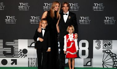 LONDON, ENGLAND - SEPTEMBER 24: Luka Modric of Real Madrid and wife Vanja Bosnic arrive on the Green Carpet with their children Ivano Modric and Ema Modric ahead of The Best FIFA Football Awards at Royal Festival Hall on September 24, 2018 in London, England. (Photo by Julian Finney/Getty Images)