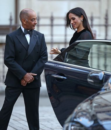 The Duchess of Sussex closes the door of the car she arrived in, as she is met by the Lord-Lieutenant of Greater London Sir Kenneth Olisa upon arriving at the opening of Oceania at the Royal Academy of Arts in London., Image: 388487106, License: Rights-managed, Restrictions: , Model Release: no, Credit line: Profimedia, Press Association