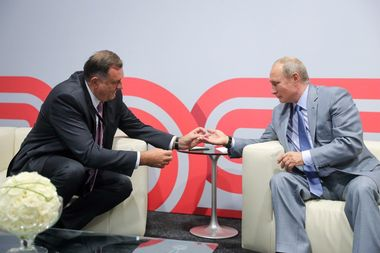 SOCHI, RUSSIA - SEPTEMBER 30, 2018: Milorad Dodik (L), President of Republika Srpska [the Serb republic in Bosnia and Herzegovina], and Russia's President Vladimir Putin during a meeting in Sochi. Mikhail Klimentyev/Russian Presidential Press and Information Office/TASS, Image: 389150408, License: Rights-managed, Restrictions: , Model Release: no, Credit line: Profimedia, TASS