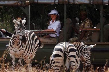 U.S. first lady Melania Trump takes a safari in Nairobi, Kenya, October 5, 2018. REUTERS/Carlo Allegri