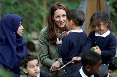 The Duchess of Cambridge talks to children at Sayers Croft Forest School and Wildlife Garden at Paddington Recreation Ground, London., Image: 389476727, License: Rights-managed, Restrictions: , Model Release: no, Credit line: Profimedia, Press Association