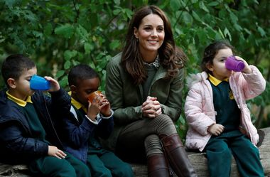 October 2, 2018 - London, London, United Kingdom - Image licensed to i-Images Picture Agency. 02/10/2018. London, United Kingdom. Kate Middleton, The Duchess of Cambridge during a visit to the Sayers Croft Forest School and Wildlife Garden at Paddington Recreation Ground in London., Image: 389497888, License: Rights-managed, Restrictions: * China, France, Italy, Spain, Taiwan and UK Rights OUT *, Model Release: no, Credit line: Profimedia, Zuma Press - Entertaiment
