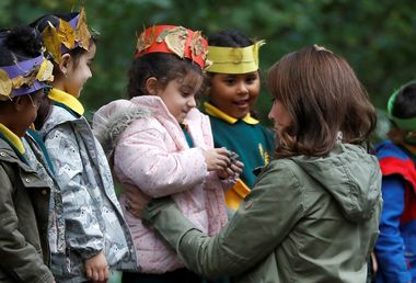 October 2, 2018 - London, London, United Kingdom - Image licensed to i-Images Picture Agency. 02/10/2018. London, United Kingdom. Kate Middleton, The Duchess of Cambridge during a visit to the Sayers Croft Forest School and Wildlife Garden at Paddington Recreation Ground in London., Image: 389497898, License: Rights-managed, Restrictions: * China, France, Italy, Spain, Taiwan and UK Rights OUT *, Model Release: no, Credit line: Profimedia, Zuma Press - Entertaiment