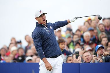 PARIS, FRANCE - SEPTEMBER 28: Brooks Koepka of the United States reacts to his tee shot during the morning fourball matches of the 2018 Ryder Cup at Le Golf National on September 28, 2018 in Paris, France. (Photo by Christian Petersen/Getty Images)