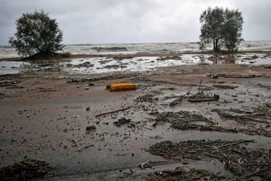 A general view shows the seaside, following a cyclone in Kalamata, Greece September 29, 2018. Eurokinissi via REUTERS ATTENTION EDITORS - THIS IMAGE WAS PROVIDED BY A THIRD PARTY. NO RESALES. NO ARCHIVE. GREECE OUT. NO COMMERCIAL OR EDITORIAL SALES IN GREECE