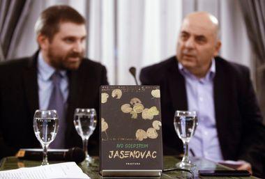 Zagreb, 211118.Novinarski dom, Perkovceva 2.Predstavljanje monografije Jasenovac Ive Goldsteina u Nakladi Frakture.Na fotografiji: monografija.Foto: Zeljko Puhovski / CROPIX