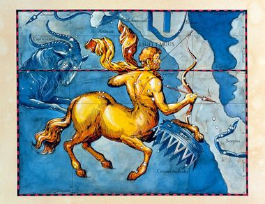 Sagittarius. Coloured historical artwork of the constellation of Sagittarius. The constellation is shown as a centaur archer. Sagittarius is the ninth sign of the Zodiac. The Sun is in Sagittarius between 22 November and 21 December. It is a large and important constellation, and the centre of our galaxy lies in the Milky Way (pale band, right) by the top of his bow. The path of the Sun through the sky, the ecliptic, is shown by the black and red line in upper frame. This artwork is based on a sky map by the Polish-German astronomer Johannes Hevelius (1611-1687), which was published posthumously in 1690., Image: 102955321, License: Rights-managed, Restrictions: , Model Release: no, Credit line: Profimedia, Sciencephoto RM