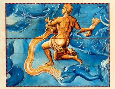 Aquarius. Coloured historical artwork of the constellation of Aquarius. The constellation is depicted as a man pouring water from a jug by his chest. Aquarius is the eleventh sign of the Zodiac. The Sun is in Aquarius between 20 January and 18 February. It is a large yet diffuse and inconspicuous constellation. The triangle of stars representing his forearm and hand is the most recognisable of the groupings. The Sun's path, the ecliptic, is shown by the black and red line at centre. This artwork is based on a sky map by the Polish-German astronomer Johannes Hevelius (1611- 1687), which was published posthumously in 1690., Image: 102955301, License: Rights-managed, Restrictions: , Model Release: no, Credit line: Profimedia, Sciencephoto RM