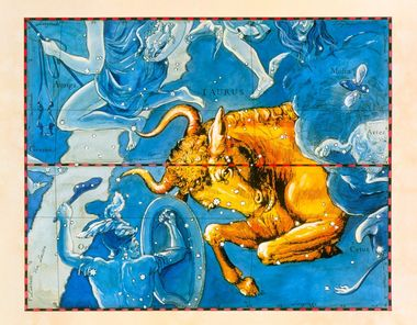 Taurus. Coloured historical artwork of the constellation of Taurus. The constellation is depicted as a bull charging at the shield of Orion, below the Bull to his left. Taurus is the second sign of the Zodiac. The Sun is in Taurus between 20 April and 20 May. It is a conspicuous and important constellation, and has been depicted as a bull for many centuries. The bright star Aldebaran marks the lower of the Bull's eyes. The Sun's path, the ecliptic, is the black and red line at centre. This artwork is based on a sky map by the Polish-German astronomer Johannes Hevelius (1611-1687), published posthumously in 1690., Image: 102955299, License: Rights-managed, Restrictions: , Model Release: no, Credit line: Profimedia, Sciencephoto RM