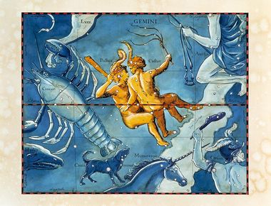 Gemini. Coloured historical artwork of the constellation of Gemini. The constellation is depicted as a pair of twins, one holding a club, the other a flail. Gemini is the third sign of the Zodiac. The Sun is in Gemini between 21 May and 21 June. It is a prominent constellation, famed for the two bright stars which form the twins' heads; Castor (right) and Pollux (left). The Sun's path, the ecliptic, is shown by the black and red line at centre. This artwork is based on a sky map by the Polish-German astronomer Johannes Hevelius (1611-1687), which was published posthumously in 1690., Image: 102955303, License: Rights-managed, Restrictions: , Model Release: no, Credit line: Profimedia, Sciencephoto RM