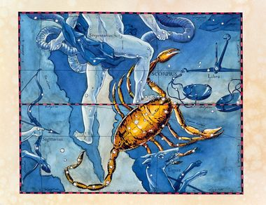 Scorpius. Coloured historical artwork of the constellation of Scorpius. The constellation is shown as a scorpion, with Sagittarius' arrow (lower left) aimed at its back. Scorpius is the eighth sign of the Zodiac. The Sun is in Scorpius between 23 October and 22 November. It is a large and important constellation, and its heart is represented by the bright star Antares, in the middle of its body. The path of the Sun through the sky, the ecliptic, is shown by the black and red line in upper frame. This artwork is based on a sky map by the Polish-German astronomer Johannes Hevelius (1611-1687), published in 1690., Image: 102955323, License: Rights-managed, Restrictions: , Model Release: no, Credit line: Profimedia, Sciencephoto RM