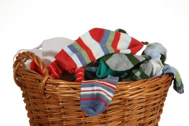 pile of socks and underwear in basket, close up