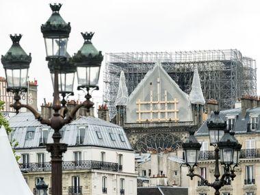 Notre Dame de Paris. Versant nord avec la partie renforcee apres l'incendie qui a detruit la charpente de la cathedrale.//MASTAR_fourmy2636/1905051538/Credit:Mario-FOURMY/SIPA/1905051538, Image: 430984384, License: Rights-managed, Restrictions: , Model Release: no, Credit line: Profimedia, TEMP Sipa Press