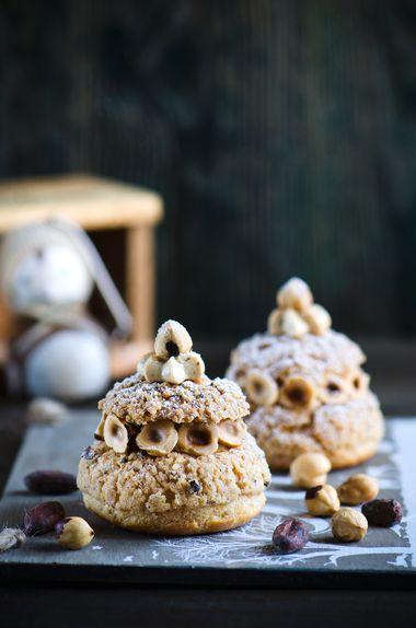 Choux Paris-Brest choux pastry with cream muslin and hazelnuts