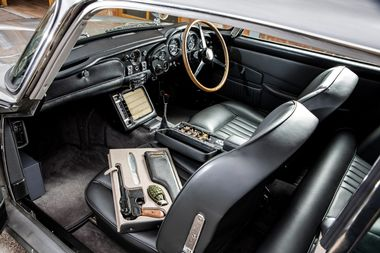 An original Aston Martin DB5 car, one of just three surviving examples, fitted with James Bond specifications and gadgetry as pictured in the film Goldfinger which will be offered for auction by RM Sotheby's, is shown in this photo provided June 12, 2019. Simon Clay ¬ 2019 Courtesy of RM SothebyÄôs/Handout via REUTERS ATTENTION EDITORS - THIS IMAGE WAS PROVIDED BY A THIRD PARTY NO RESALES, NO ARCHIVE