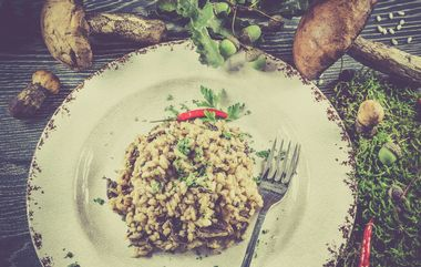 Vintage style photo of italian risotto with mushrooms