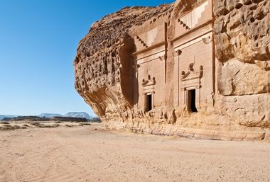 Asia Saudi Arabia Mada'in Saleh Nabatean kingdom (Arabic: ????? ????, mada'in ?ali?), also called Al-Hijr or Hegra (so in Greek and Latin, e.g. by Pliny. Is a pre-Islamic archaeological site located in the Al-Ula sector, within the Al Madinah Region of Saudi Arabia. A majority of the vestiges date from the Nabatean kingdom (1st century CE).[ The site constitutes the kingdom's southernmost and largest settlement after Petra, its capital. Traces of Lihyanite and Roman occupation before and after the Nabatean rule, respectively, can also be found in situ,while accounts from the Quran tell of an earlier settlement of the area by the tribe of Thamud in the 3rd millennium BC., Image: 124668463, License: Rights-managed, Restrictions: , Model Release: no, Credit line: Realy Easy Star/Giuseppe Masci / Alamy / Alamy / Profimedia
