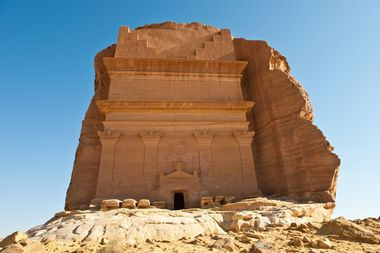 Asia Saudi Arabia Mada'in Saleh Nabatean kingdom (Arabic: ????? ????, mada'in ?ali?), also called Al-Hijr or Hegra (so in Greek and Latin, e.g. by Pliny. Is a pre-Islamic archaeological site located in the Al-Ula sector, within the Al Madinah Region of Saudi Arabia. A majority of the vestiges date from the Nabatean kingdom (1st century CE).[ The site constitutes the kingdom's southernmost and largest settlement after Petra, its capital. Traces of Lihyanite and Roman occupation before and after the Nabatean rule, respectively, can also be found in situ,while accounts from the Quran tell of an earlier settlement of the area by the tribe of Thamud in the 3rd millennium BC., Image: 124930369, License: Rights-managed, Restrictions: , Model Release: no, Credit line: Realy Easy Star/Giuseppe Masci / Alamy / Alamy / Profimedia