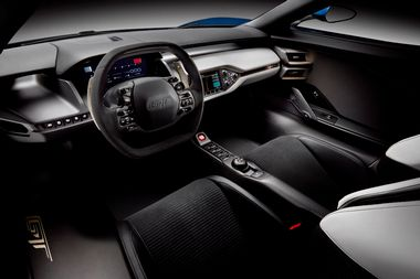 The all-new Ford GT supercar sports a purposeful two-seat cockpit that provides state-of-the-art technology to ensure control, comfort and safety.