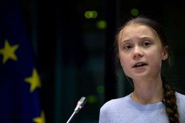 Swedish climate activist Greta Thunberg speaks during a meeting at the European Parliament in Brussels on March 4, 2020, on the day the European Union unveils a landmark law to achieve