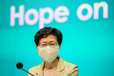 Hong Kong's Chief Executive Carrie Lam speaks during a press conference on the city�s COVID-19 novel coronavirus situation at the government headquarters in Hong Kong on May 5, 2020. (Photo by Anthony WALLACE / AFP)